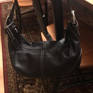 Genuine Black Leather Coach Bag